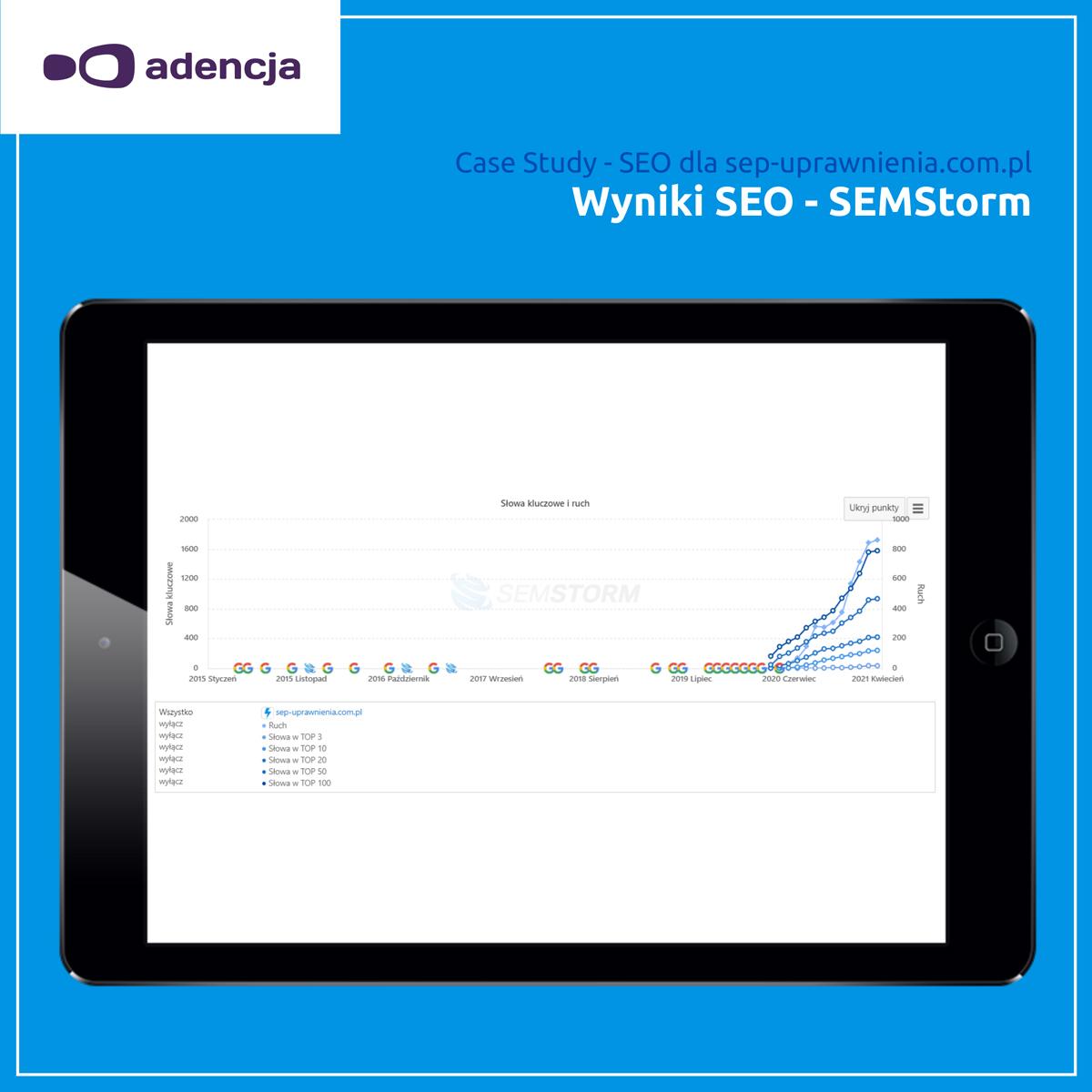 Narzędzie SEMStorm – wyniki SEO